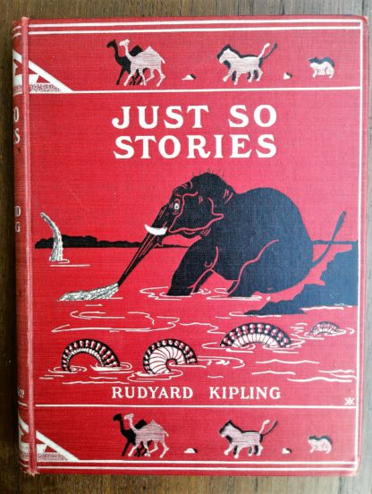 The front cover of a 1902 copy of Just So Stories by Rudyard Kipling