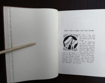 1902 book, Just So Stories, open to page 15 on the story, How the Camel got his Hump