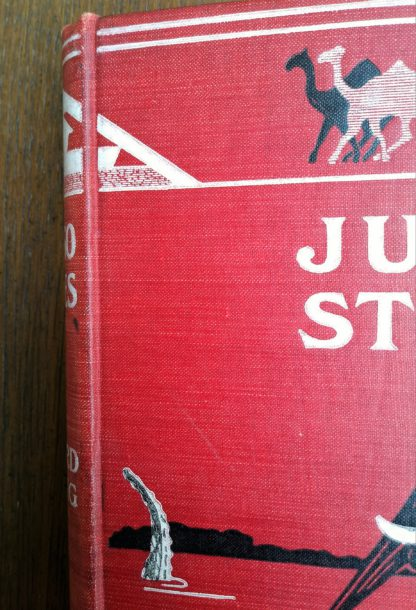 1902 copy of Just So Stories by Rudyard Kipling, close up of front cover upper left corner