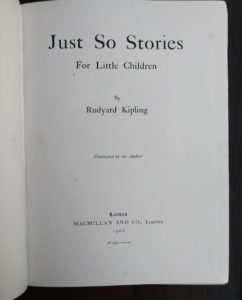 1902 title page for Just So Stories, Rudyard Kipling