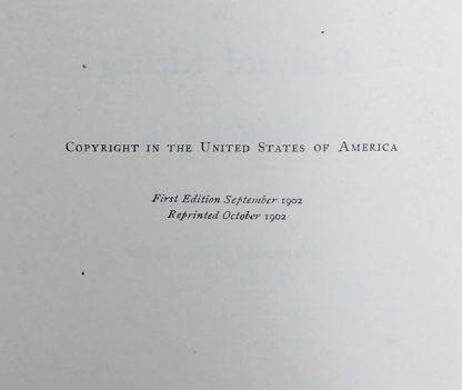 Close up of the copyright text where it reads that book is an October 1902 reprint