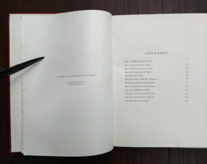 Table of Contents in a 1902 copy of Just So Stories, October Reprint