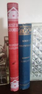 Two first editions, first printings from Rudyard Kipling on a shelf next to one another