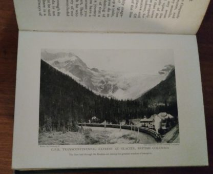 Picture of the CPR Transcontinental Express at Glacier, Bristish Columbia, in the 1913 Antique Book, Wonder of Transport by Cyril Hall