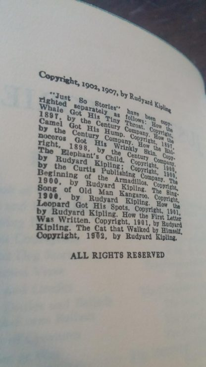 copyright details inside a 1907 Just So Stories by Rudyard Kipling, Doubleday and company publishing