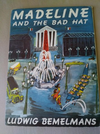 Backside of a 1958 copy of Madeline and the Bad Hat, First European Release