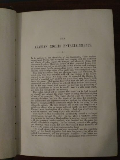 First page in a 1870s copy of Arabian Nights in the Lorne Series