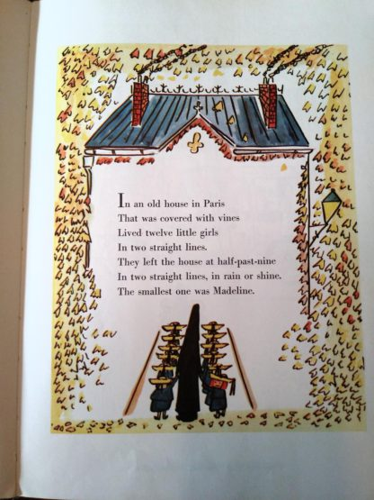 Close up of writing on front cover, Madeline and the Bad Hat, 1958 First European Release