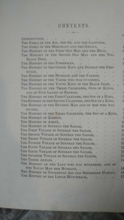 Page one of two of the Table of Contents in a 1870s copy of Arabian Nights in the Lorne Series