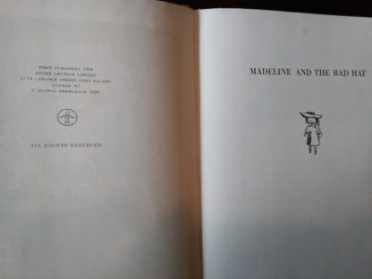 Title page and copyright page of Madeline and the Bad Hat, 1958 First European Release