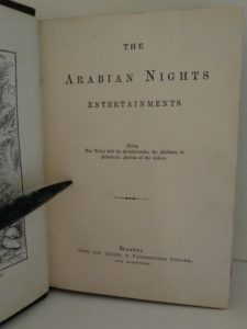 Title page of a 1870s copy of Arabian nights published by Gall and Inglis