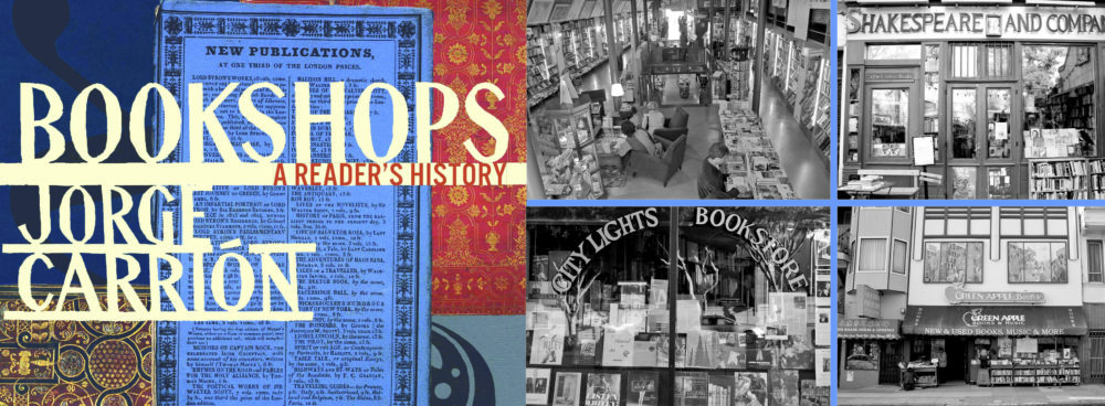 Front cover of book by jorge Carrion entitled Bookshops