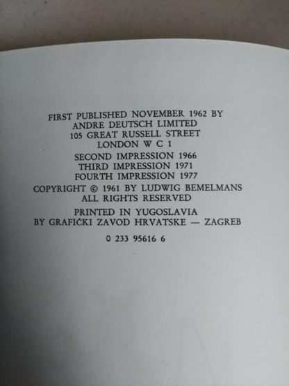 copyright page in a 1977 book Madeline in London, Fourth Impression of First Edition