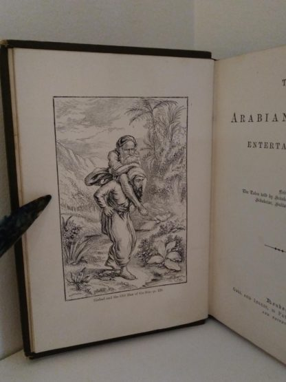 image adjacent to title page in 1870s copy of Arabian Nights in the Lorne Series