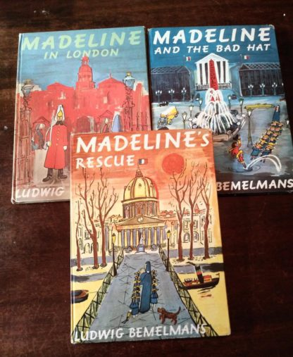 three collectible copies of Madeline and the Bad Hat