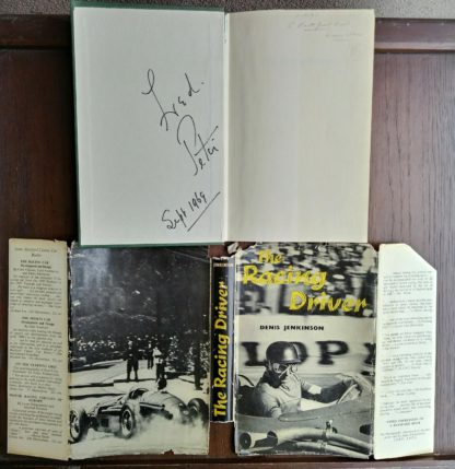 1959 copy of The Racing Driver by Denis Jenkinson, Signed by Fred Jiggs Peters