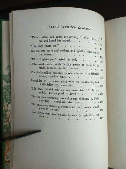 2 of 2 pages of a List of Illustration in a 1928 copy of Bambi A life in the Woods