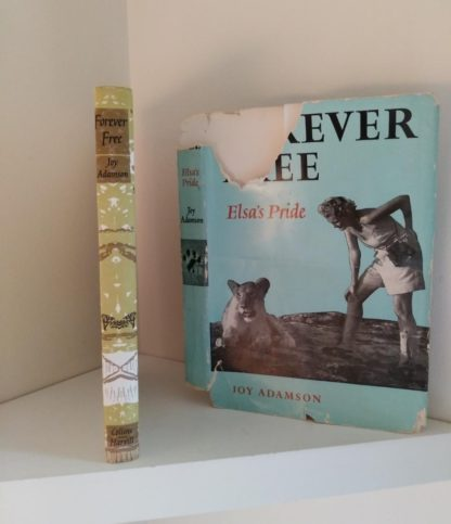 Binding and dust jacket of a 1962 First Edition copy of Forever Free by Joy Adamson