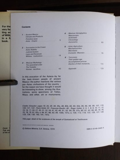 Copyright and Contents page inside a 1970 copy of The World of the Aztecs by William H. Prescott