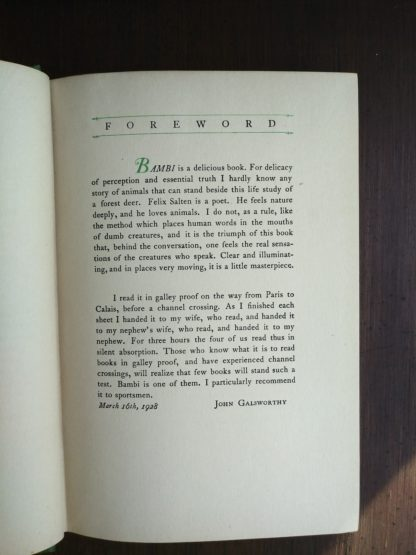 Forward by John Galsworthy in a 1928 copy of Bambi A Life in the Woods