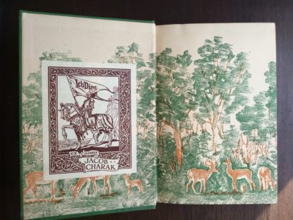Front paste down and end paper in a 1928 copy of Bambi A Life in the Woods