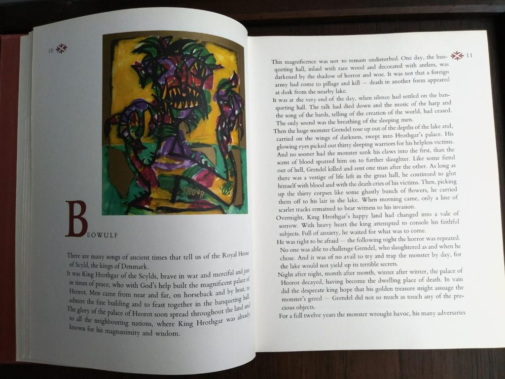 Illustration of Beowulf in Heroes of Folk Tale and Legend first printing 1970 copy