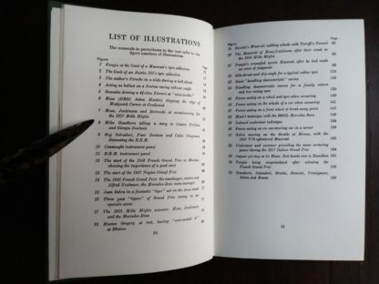 List of illustrations in a 1959 copy of The Racing Driver by Denis Jenkinson