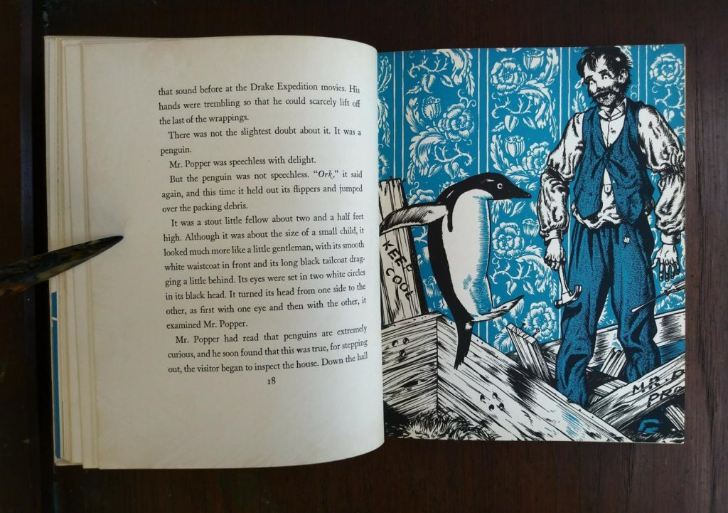Robert Lawsons illustration on page 19 in a copy of Mr. Poppers Penguins 1938, First Edition, 2nd Printing by Richard & Florence Atwater