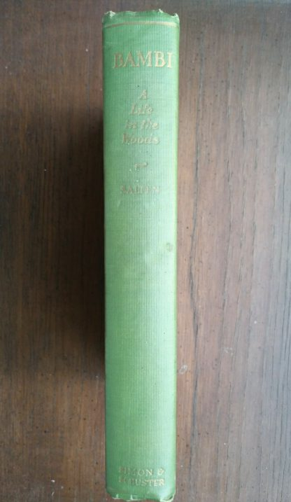 Spine view of a July 1928 First American copy of Bambi A Life in the Woods