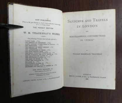 Title page in a 1886 copy of Sketches and Travels in London etc. by William Thackeray in The Pocket Edition