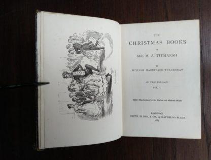Title page in a 1886 copy of The Christmas Books of Mr. M. A. Titmarsh by Thackeray in The Pocket Edition