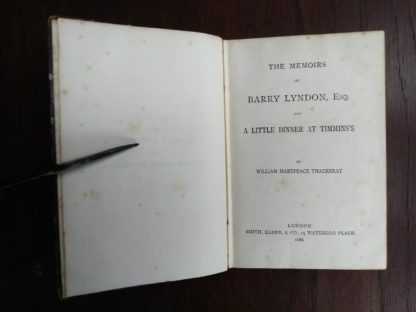 Title page of a 1886 copy of Barry Lyndon, etc by Thackeray in The Pocket Edition