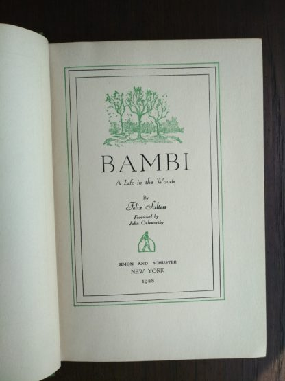 Title page of a 1928 First Printing in America copy Bambi A life in the Woods