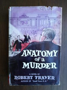 front of dust jacket on a 1958 copy of Anatomy of a Murder, 1st Edition & First Printing