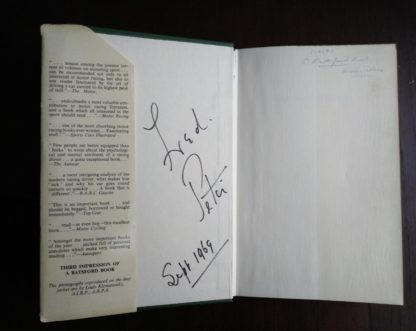 front paste-down and end paper in a 1959 copy of The Racing Driver by Denis Jenkinson, Signed by Fred Jiggs Peters