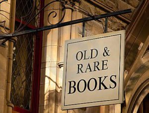 old and rare books sign