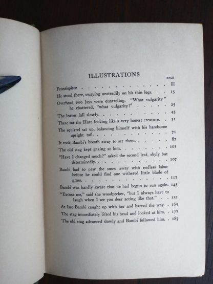 one of two pages of a List of Illustrations in a 1928 copy of Bambi A Life in the Woods