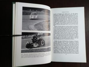 page 19 and 19 in a 1959 copy of The Racing Driver by Denis Jenkinson, Signed by racer, Fred Jiggs Peters