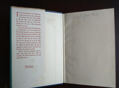 paste down and front end paper in a 1951 1st edition and printing of A Small Miracle by Paul Gallico
