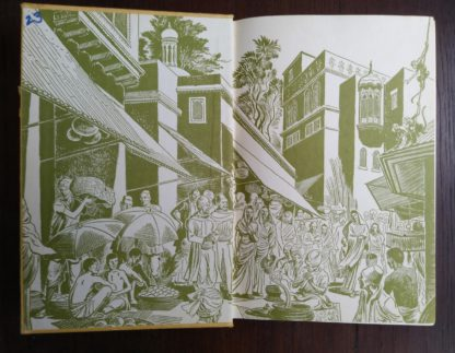 paste down and front endpaper in a copy of GANDHI Fighter Without A Sword, 1962 First Canadian Edition and Printing