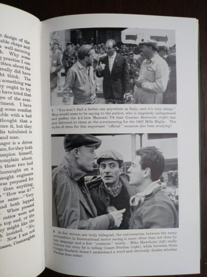 photographs inside a 1959 copy of The Racing Driver by Denis Jenkinson, Signed by Fred Jiggs Peters