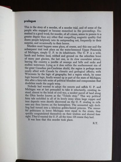 prologue inside a 1958 copy of Anatomy of a Murder, 1st Edition & First Printing