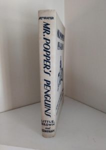 spine of a copy of Mr. Poppers Penguins 1938, First Edition, 2nd Printing by Richard & Florence Atwater