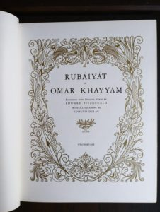 the title page in a 1977 copy of Rubaiyat of Omar Khayyam illustrated by Edmund Dulac