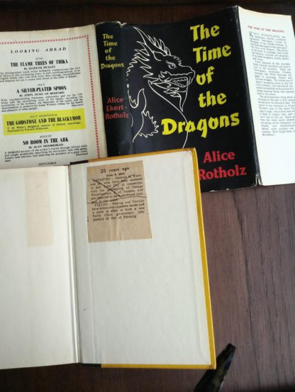 1960 copy of The Time of the Dragons, by Alice Ekert-Rotholz with some interesting ephemera inside back paste down
