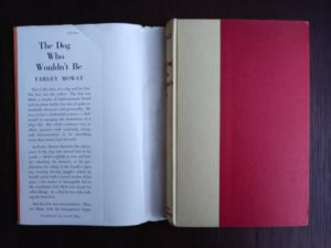 The Dog Who Wouldnt Be, 1957, 4th edition, by Farley Mowat, view with dust jacket off