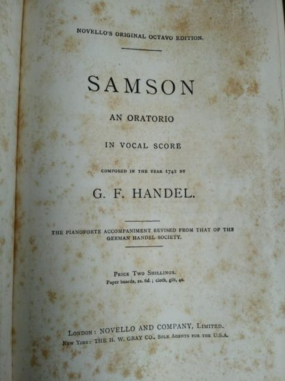 The title page in a copy of Samson, an Oratorio in Vocal Score, composed in 1742, by Handel