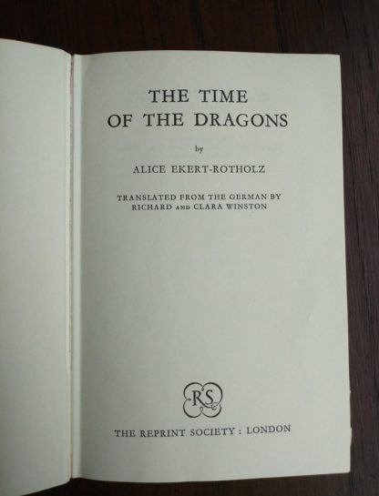 Title page in a 1960 book club copy of The Time of the Dragons, by Alice Ekert-Rotholz
