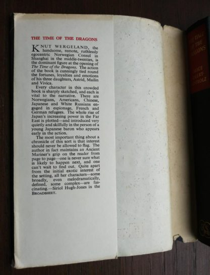 book description on dust jacket on a 1960 book club copy of The Time of the Dragons, by Alice Ekert-Rotholz