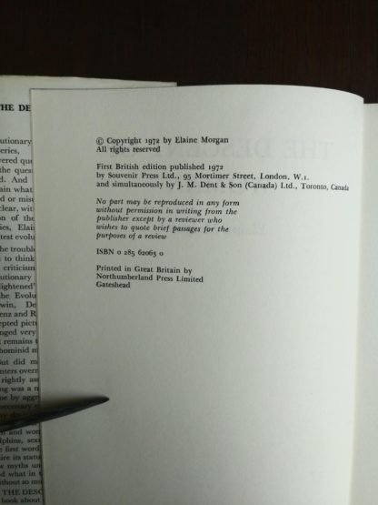 copyright page in a 1972 copy of The Descent of Woman, by Elaine Morgan, First British Edition